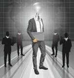 Head man för lampa med bärbar dator Arkivfoton