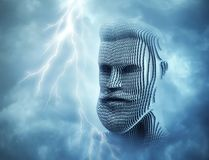 Head of man in front of blue thunder sky stock images