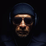 Head of a Man With Headphones Royalty Free Stock Images