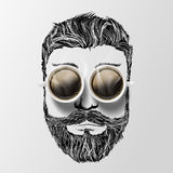Head of a man with a mustache, beard and coffee. Hipster style. Royalty Free Stock Image