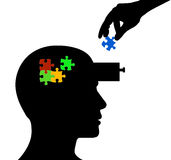 Head Man Profile and parts of puzzle. Head Man Profile and a hand insert  parts of puzzle Royalty Free Stock Photo