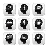 Head, man thoughts  buttons set Royalty Free Stock Photography