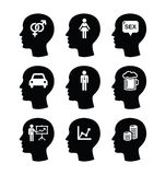 Head, man thoughts  icons set Royalty Free Stock Photography