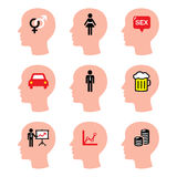 Head, man thoughts  icons set Royalty Free Stock Photo