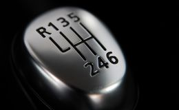 Manual gear shift. The head of the manual transmission lever stock photo