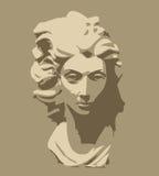 head marmorskulpturkvinna Vektor Illustrationer