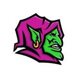 Head maskot för elakt troll stock illustrationer