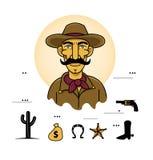 Head maskothäst för cowboy Vektor Illustrationer