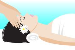 Head massage. Spa, The girl lies Stock Photos
