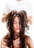 Head massage in beauty salon Stock Photos