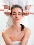 Head massage in beauty salon Stock Images