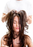 Head Massage In Beauty Salon Stock Photos