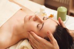 Head massage at salon closeup Stock Photos
