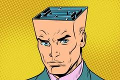 Head maze man thinks. Pop art retro vector illustration vector illustration