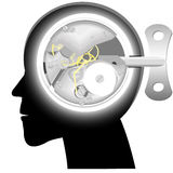 Head with the mechanism. Of hours instead of a brain with a clockwork key Stock Images