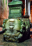 The head of Medusa in the Basilica Cistern in Istanbul. ISTANBUL - MAY 25, 2013: The head of Medusa in the Basilica Cistern. It is the largest of several hundred stock photography