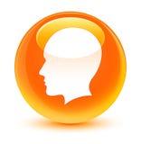 Head men face icon glassy orange round button Royalty Free Stock Photos