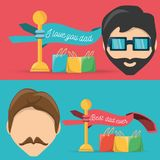 Head men with ribbons and gifts bags. Vector illustration Stock Photo