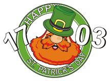 Head of men and symbols. Happy face of st. Patrick peek up from banner with numbers and words Stock Images