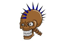 Skull head. Head of a mohawk haired skull Royalty Free Stock Image