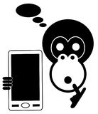 Monkey with smart phone isolated Stock Image
