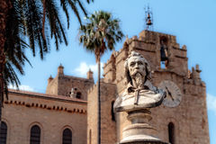 Head of Monreale. Head Statue in front of the Cathedral of Monreale, Sicily Stock Photos