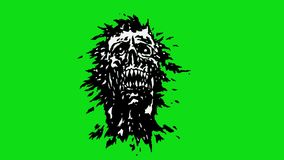 The head of the monster with a torn face. Scary vampire skull on green background. Looped videor. The head of the monster with a torn face. Scary vampire skull stock video footage