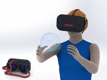 Head-mounted display illustration of a girl on white background Virtual Reality Royalty Free Stock Photo