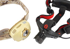 Head-mounted flashlights Stock Images