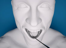 Head, mouth open, dentist Preparation tool Royalty Free Stock Photos