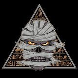 Head of a mummy against a background of hieroglyphs royalty free illustration