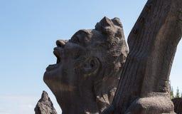 Head of Music Monument Akamizu Tembo Hiroba of Tsuyoshi Nagabuchi build from Lava. Near the Vulcan Sakurajima Observation Point. royalty free stock photography