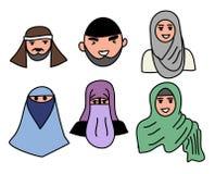 Head Muslim men and Women Muslim Royalty Free Stock Photos