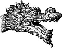 Head of a mythical dragon. Vector drawing of the head of a chinese fabulous dragon Royalty Free Stock Images