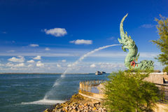 Head of Naka statue spray water Royalty Free Stock Photos