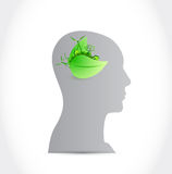 Head and natural leaves. illustration design Stock Photography
