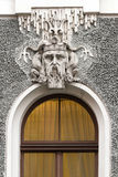 Head of Neptune in the decoration of the house in Riga Stock Photo