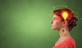 Head with new idea and network concept. Head with new idea, lighting bulb and networking conceptn royalty free stock photo