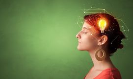 Head with new idea and network concept. Head with new idea, lighting bulb and networking concept stock photos