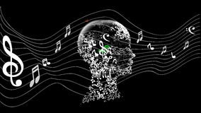 Head with note  music Royalty Free Stock Photo