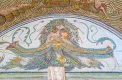 The head of Oceanus. TUNIS, TUNISIA - SEPTEMBER 2, 2015: The mosaic with the head of Oceanus, the ancient god of the all waters source, Bardo National Museum, on Royalty Free Stock Photography