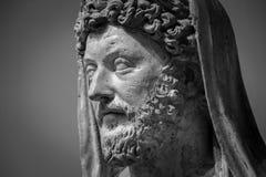 Head och skuldradetalj av den forntida skulpturen Royaltyfria Bilder