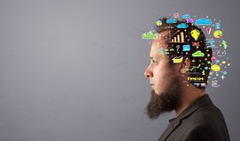 Head with office operation concept royalty free stock image