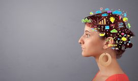Head with office operation concept. Colorful graphs, charts and iconsn royalty free stock photo
