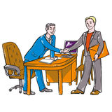 Head in the office. Head office in recruiting or bargains Stock Photography