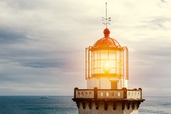 Head of old lighthouse stock images