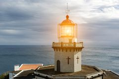 Head of old lighthouse royalty free stock photo