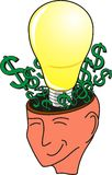 Head Open with Bulb and Dollar signs royalty free stock images