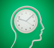 Head outline with a clock Royalty Free Stock Images