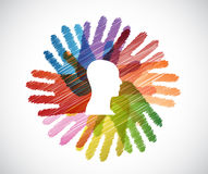 head over a color hands diversity concept Stock Photo